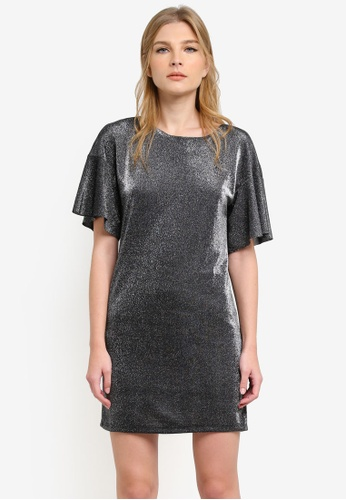 WAREHOUSE silver Metallic Tunic Dress WA653AA0S23DMY_1
