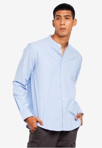 Brave Soul blue Mandarin Collar Long Sleeve Shirt 7C6C2AA3D2777BGS_1