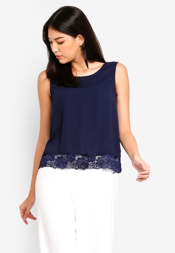 ZALORA navy Lace Layer Sleeveless Top 0D246AAB549B29GS_1