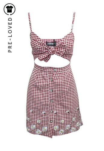 Reformation red Pre-Loved reformation Checked Dress with Floral Embroidery D73A0AA573BD42GS_1