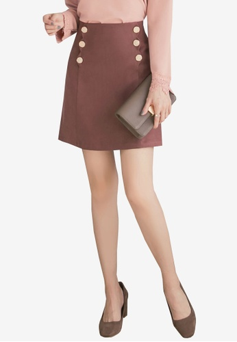 YOCO brown Double Buttoned Skirt 31800AAFF76419GS_1