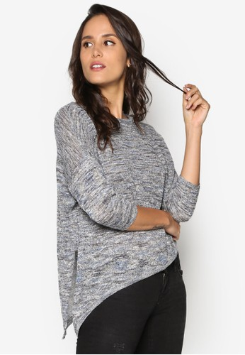 Haxby 不對稱下擺七分袖針織衫, 服飾, esprit 評價外套