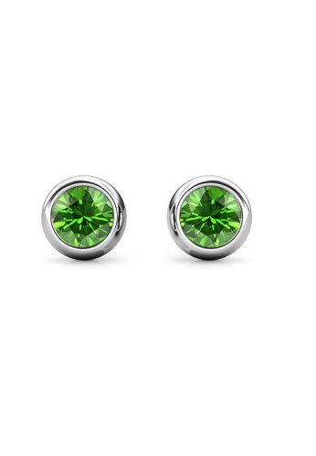 Her Jewellery green and silver Birth Stone Moon Earring August Peridot WG - Anting Crystal Swarovski by Her Jewellery BE131AC033E9B6GS_1