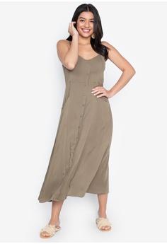 166a29a5152 Chloe Edit green Spaghetti Strap Midi Dress D2813AAB517380GS_1