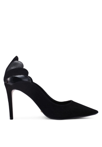 Dune London black Aerielle Scallop Back Court Heels 261FDSHA0C9D55GS_1