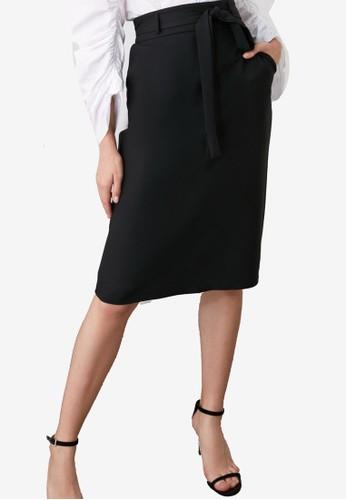 Trendyol black Tie-Waist Midi Skirt 1C0EDAA190AE73GS_1
