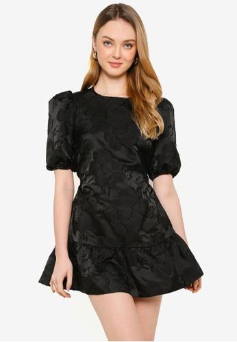 Miss Selfridge black Petite Black Jacquard Tiered Mini Dress 3CF73AABE2ADB0GS_1