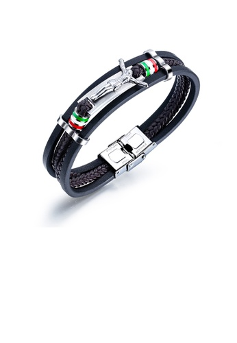 Glamorousky silver Fashion Vintage 316L Stainless Steel Jesus Leather Multi-layer Bracelet 6731BAC976E84FGS_1