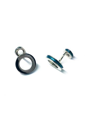 Splice Cufflinks blue and silver Turquoise Hoop Cufflinks  SP744AC72EELSG_1