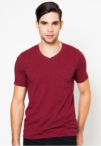 OCEAN LINE Two Tone Slim Fit Short Sleeve V Neck T-Shirt