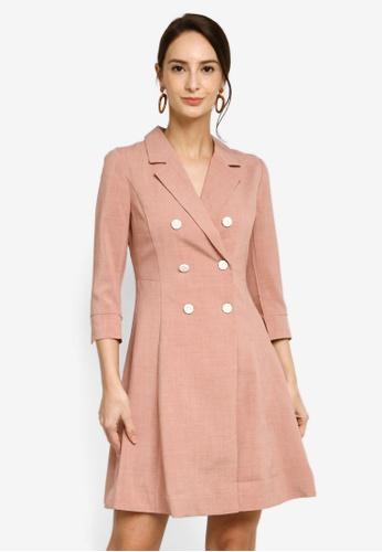 Hopeshow pink Double Button Slim Waist Mini Dress 47AB7AAC7184D1GS_1