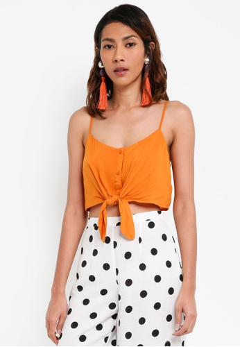 TOPSHOP brown Knot Front Cropped Camisole Top C124CAA1412604GS_1