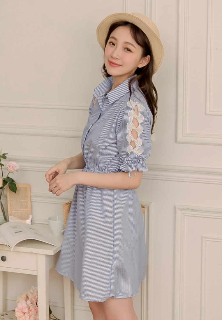 Royal Shirt Sides Stripe Dress Bow Blue Eyescream XEqd4n