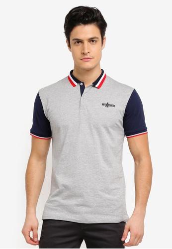 Fidelio grey Sleeves and Collar Casual Polo Shirt 80DD0AA562F2B4GS_1