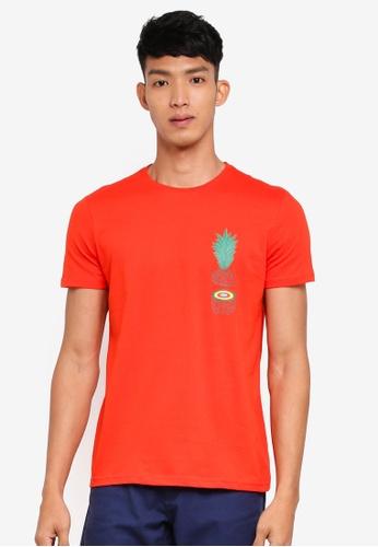 OVS orange Chest Print Tee C8A66AAC711E96GS_1
