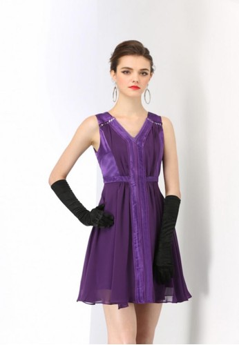 優雅緞esprit台灣面拼接雪紡色塊短洋裝, 服飾, 派對洋裝
