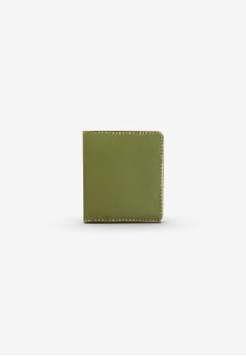 CSHEON green Bohemian Short Wallet Green Saffiano Genuine Leather 63D75AC6EA1EE4GS_1