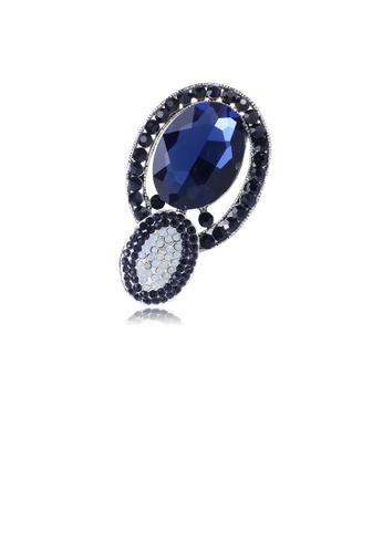 Glamorousky blue Fashion and Elegant Geometric Oval Brooch with Blue Cubic Zirconia 4944FAC4AEA37BGS_1
