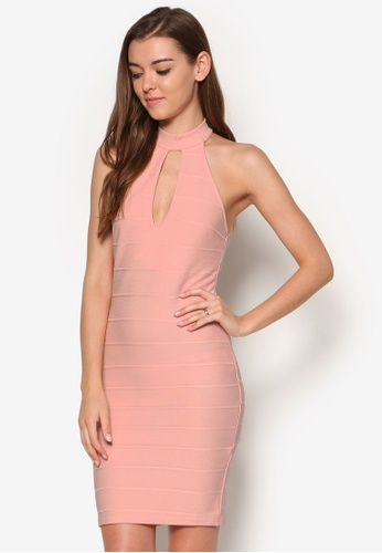Miss Selfridge pink Blush Plunge Bandage Dress MI665AA68OWLMY_1