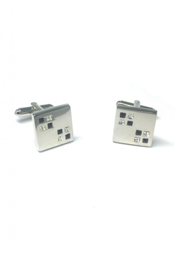 Splice Cufflinks silver Black and White Small Crystals Square Cufflinks  SP744AC65EMKSG_1