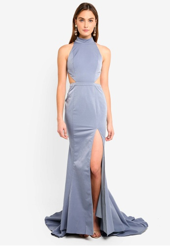 c818e7bc5f3 High Neck Figure Hugging Cut Out Detail Gown
