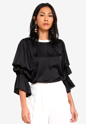 bYSI black Contrast Ruched Sleeve Top F7484AAA02B439GS_1