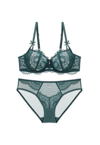 W.Excellence 綠色 Premium Green Lace Lingerie Set (Bra and Underwear) 9D80AUS8A126EDGS_1