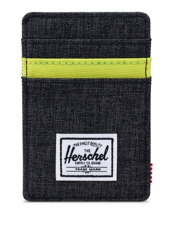 Herschel black and yellow Raven RFID Cardholder B4FCAACDABD157GS_1