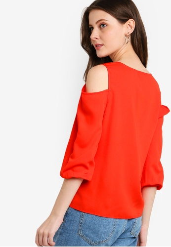 64318a76606c8 Shop ZALORA Cold Shoulder Button Down Top Online on ZALORA Philippines