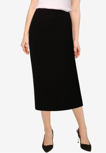 Forever New black Celeste Rib Midi Skirt BBD0CAA8AD07E6GS_1
