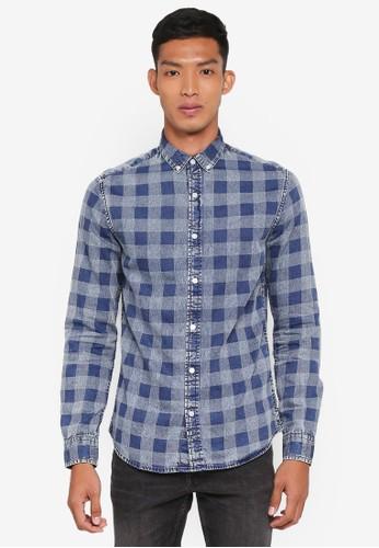 Only & Sons blue Nestor Long Sleeve Check Shirt 54A26AA36D6C95GS_1