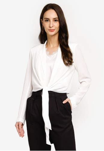 Hopeshow white Open Front Long Sleeve Jacket with Waist Tieknot E5B60AA330583AGS_1