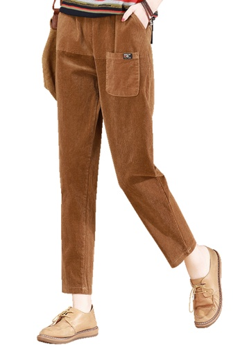 A-IN GIRLS brown Elastic Waist Corduroy Warm Trousers CA96AAAB783467GS_1