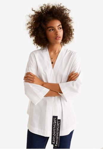 Mango white Belt Cotton Shirt 471F8AAFB95618GS_1