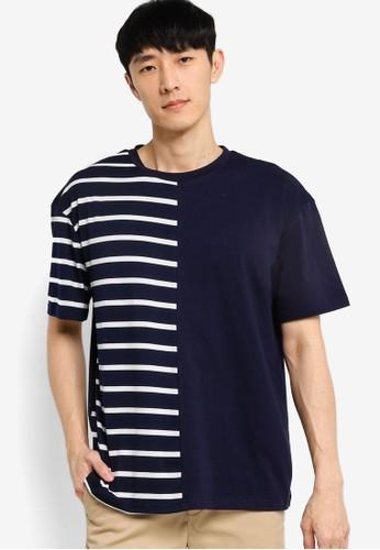 ZALORA BASICS multi and navy Stripe Block Oversized T-shirt 9C10BAACFEBBFAGS_1