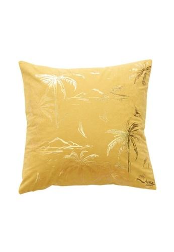 DILAS HOME Palm Tree Gold Print Cushion Cover (Mustard) DB396HL642E842GS_1