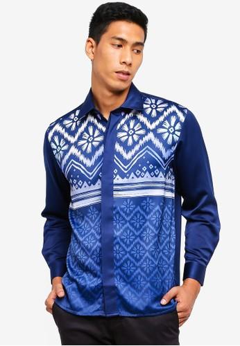 Gene Martino navy Men's Batik Shirt 0C348AA03204C6GS_1