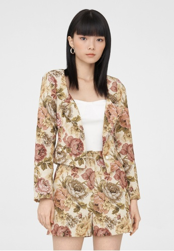 Pomelo beige Floral Print Button Up Jacket - Cream 222D5AA3A3697AGS_1