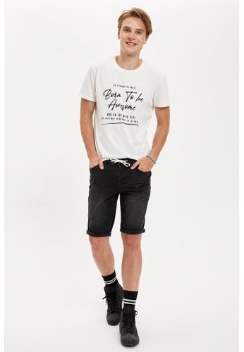 DeFacto grey Slim Fit Cotton Denim Bermuda Shorts 8741CAA7B35B07GS_1