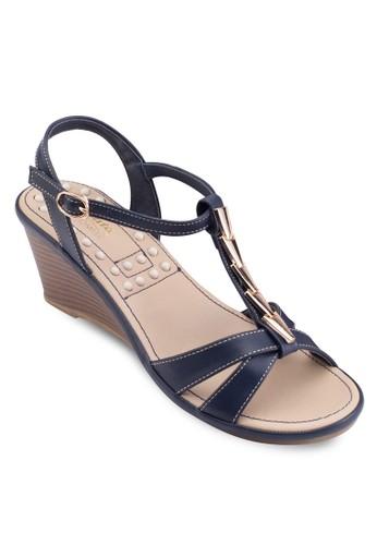 交叉T 字帶楔型跟涼鞋,zalora退貨 女鞋, 楔形涼鞋
