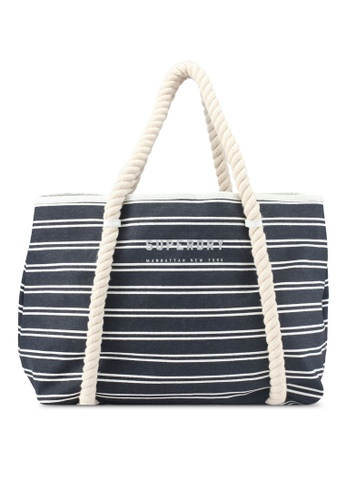 Superdry white and navy BAYSHORE STRIPE BEACH TOTE 4F2D6AC6DB592CGS_1