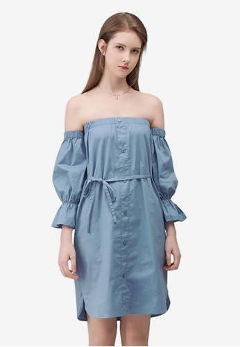 Kodz blue Off-Shoulder Buttoned Dress A7CD8AA6954149GS_1