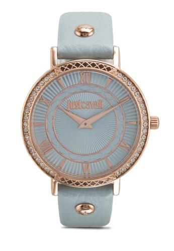 R7251527501 Jc Hour 閃鑽雕esprit門市地址刻皮革圓錶, 錶類, 飾品配件