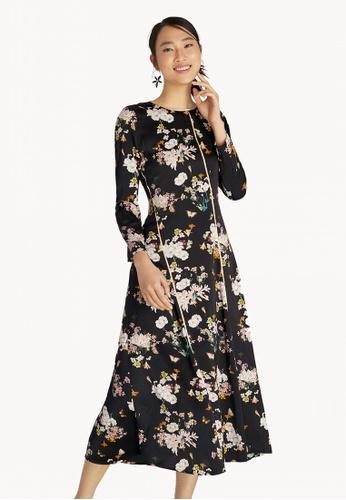 bdb52e9bf4e Pomelo black Maxi Contrast Piping Floral Flared Dress - Black  C39ECAABA9290DGS 1