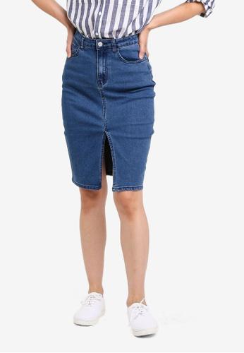 ZALORA BASICS blue Basic Denim Front Slit Skirt 430E1AAE3FC695GS_1