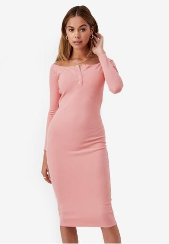 Supre pink Aya Buttoned Midi Dress C227DAA253382CGS_1