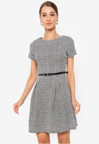 ZALORA WORK multi Basic Fit & Flare Belted Dress C27CDAA2600E1DGS_1