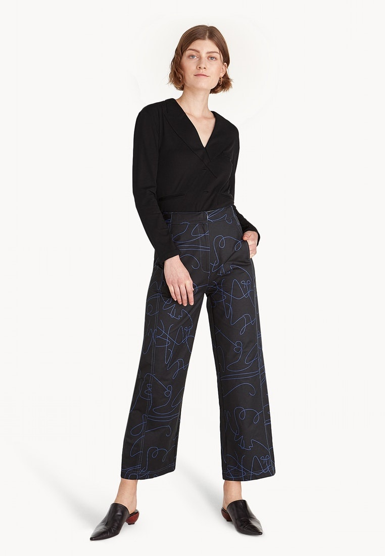 Premium Abstract Contrast Black Pomelo Pants Stitch Black pFqwW8a