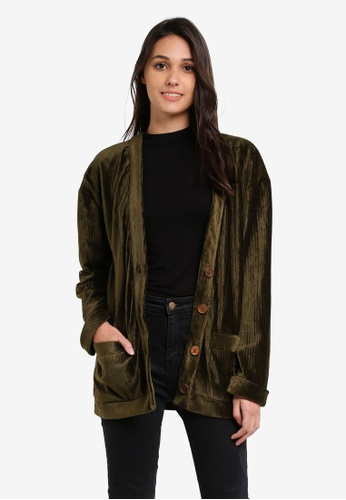 Something Borrowed green Cuffed Sleeve Boxy Cardigan AC704AA5572025GS_1