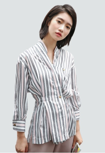 Shopsfashion grey and white Wrapped Shirt in Pink and Grey Strip SH656AA0FZZBSG_1
